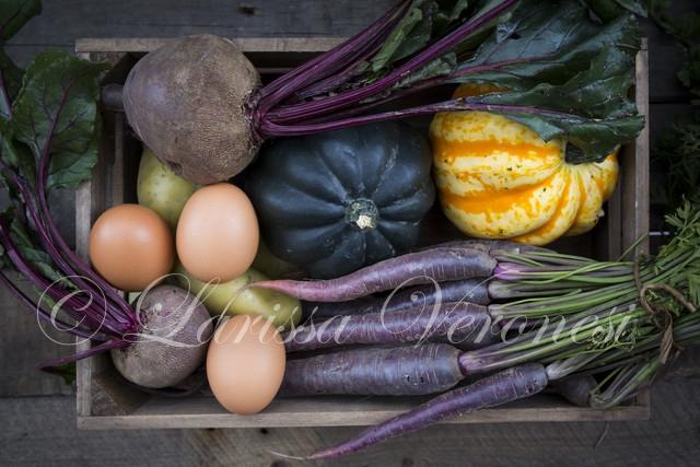 Herbstliche Gemüse-Kiste mit Kürbis, Roter Beete, lila Karotten, Kartoffeln und Eiern